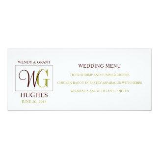 Wedding Menu Card with Custom Monogram Logo Custom Invite