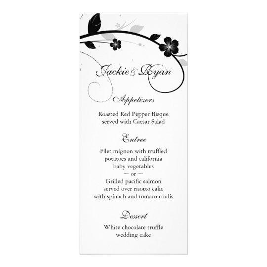 Wedding Menu Cards Black & White Floral Wall