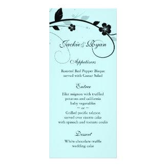 Wedding Menu Cards Black & White Floral Wall Blue Rack Card