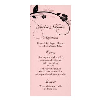 Wedding Menu Cards Black & White Floral Wall Pink Custom Rack Cards