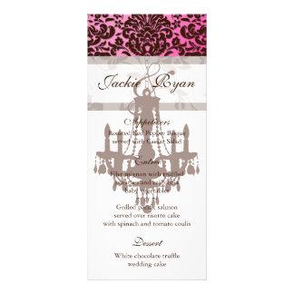Wedding Menu Cards Chandelier Brown Pink Rack Card Design