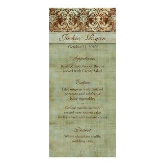 Wedding Menu Cards Damask Brown Green Vintage Rack Card