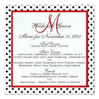 "Wedding Menu Cards Dots Red Monogram Square 5.25"" Square Invitation Card"