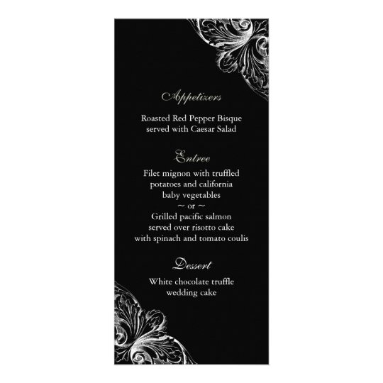 Wedding Menu Cards Elegant Monogram Black White