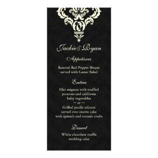 Wedding Menu Cards Formal Black Cream Suede