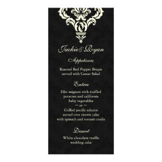 Wedding Menu Cards Formal Black Cream Suede Rack Cards