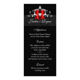 Wedding Menu Cards Formal Black Xmas Bow Customized Rack Card