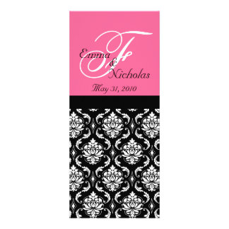 Wedding Menu Cards Hot Pink Monogram Damask Announcements