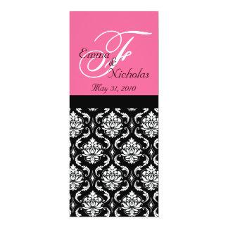 "Wedding Menu Cards Hot Pink Monogram Damask 4"" X 9.25"" Invitation Card"