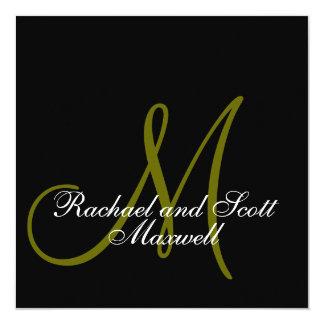 Wedding Menu Cards Monogram Black Square
