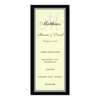 Wedding Menu Cards Monogram Cream Black