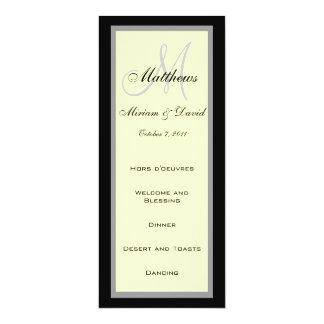 Wedding Menu Cards Monogram Cream Black Announcements