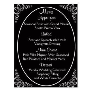 Wedding Menu Cards Post Cards
