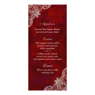 Wedding Menu Cards Red Rose Garden V2
