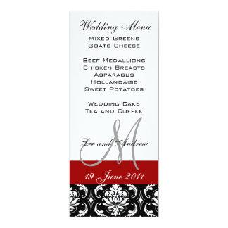 Wedding Menu Cards with Monogram Names Red Damask