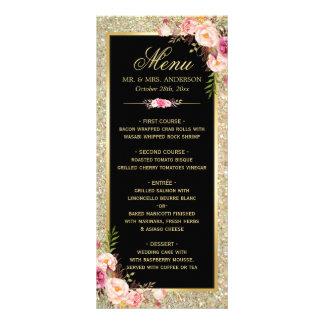 Wedding Menu Classy Floral Gold Glitter Sparkles