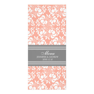 Wedding Menu Coral Gray Damask Personalized Rack Card