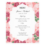"""Wedding Menu Delicate Country Chic Rose & Lace 4.5"""" X 5.6"""" Flyer"""