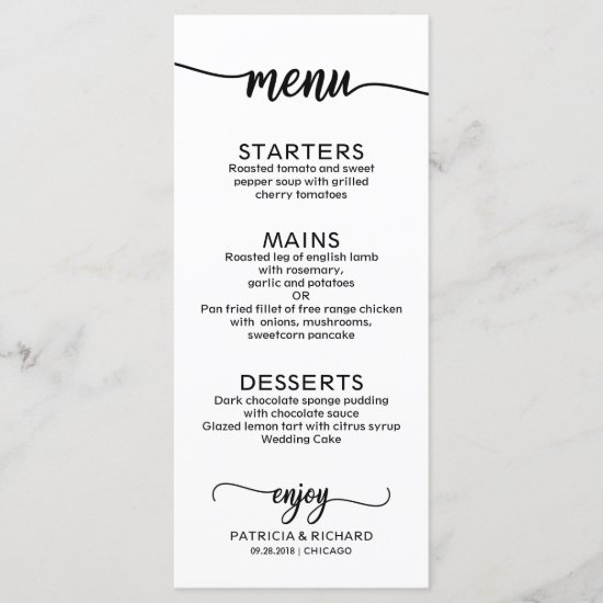 Wedding Menu Elegant Calligraphy  Black and White