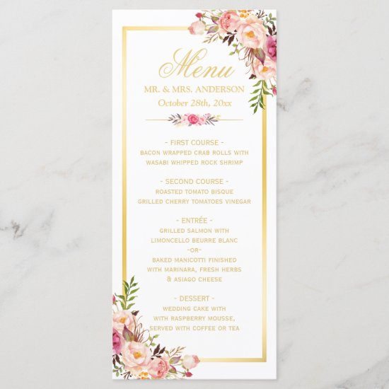 Wedding Menu Elegant Chic Gold Frame Floral