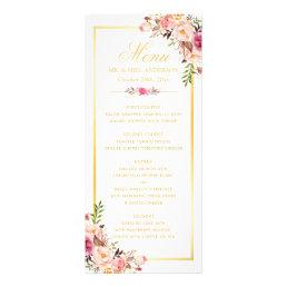 Wedding Menu Elegant Chic Gold Frame Floral
