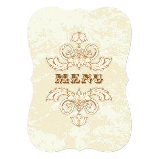 Wedding Menu Elegant Cream & Brown Vintage Floral Card