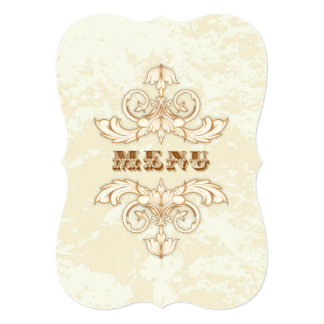 Wedding Menu Elegant Cream & Brown Vintage Floral 5x7 Paper Invitation Card