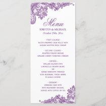 Wedding Menu Elegant Lavender Purple Lace Pattern