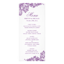 Wedding Menu Elegant Lavender Purple Lace Pattern