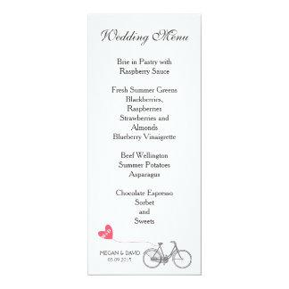 Wedding Menu elegant white romantic bike Card