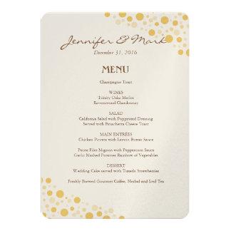 Wedding Menu Gold Confetti Circles Card