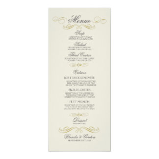 Wedding Menu Gold Frame & Off White Background Card