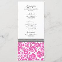 Wedding Menu Grey Pink Damask Pattern