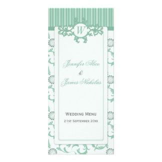 Wedding Menu in Summer Green Stripes & Pattern