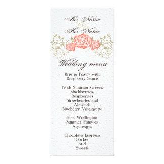 Wedding menu 4x9.25 paper invitation card