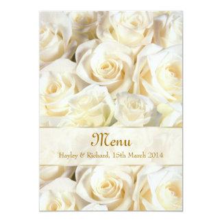 Wedding Menu Invitation card with white-cream rose