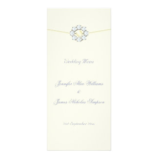 Wedding Menu Ivory with Diamonds and Pearls Personalized Rack Card