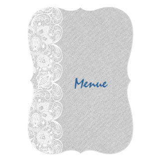 Wedding Menu Light Gray Linen White Vintage Lace Card