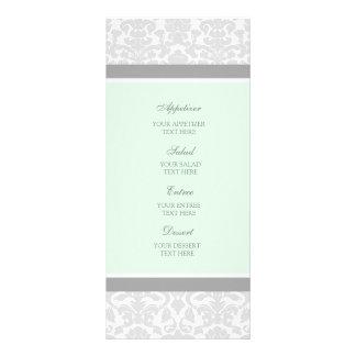 Wedding Menu Mint Gray Damask