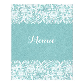 Wedding Menu Mint-Green Linen White Vintage Lace