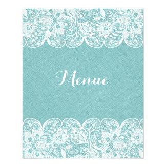 "Wedding Menu Mint-Green Linen White Vintage Lace 4.5"" X 5.6"" Flyer"