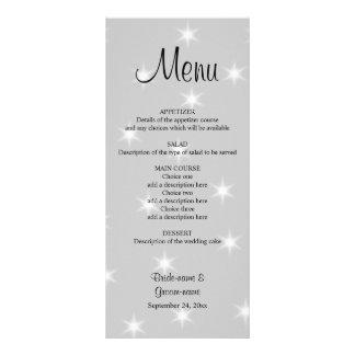 Wedding Menu, Pale Gray with White Stars. Rack Card Design