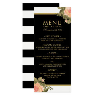 Wedding Menu   Pale Pink Roses & Black Stripes Card