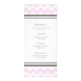Wedding Menu Pink Gray Chevron Custom Rack Card
