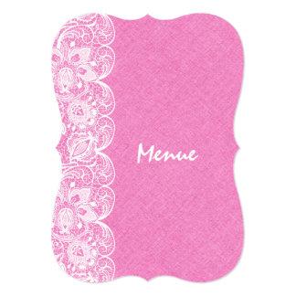 Wedding Menu Pink Linen White Vintage Lace Card