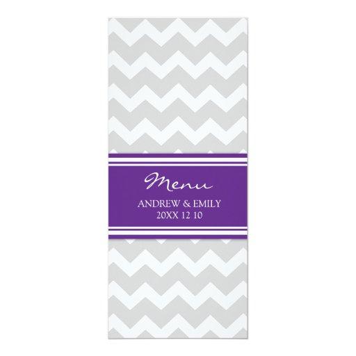 Wedding Menu Plum Gray Chevron 4x9.25 Paper Invitation Card