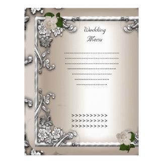 Wedding Menu Program Cream Rose White Letterhead