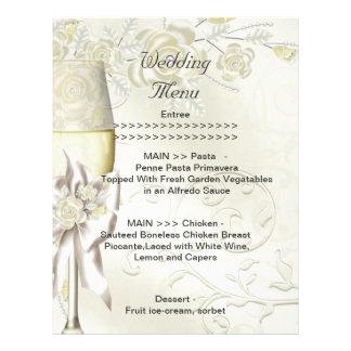 Wedding Menu Program Gold Cream Pearl Floral Roses Letterhead
