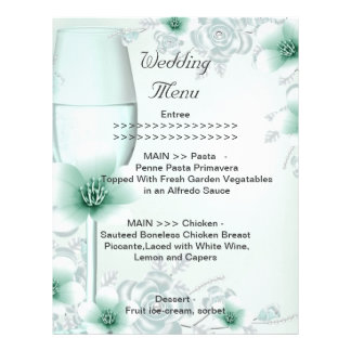 Wedding Menu Program Mint Green Blossom Rose