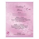 Wedding Menu Program Pink Swans Bow Set Letterhead Template
